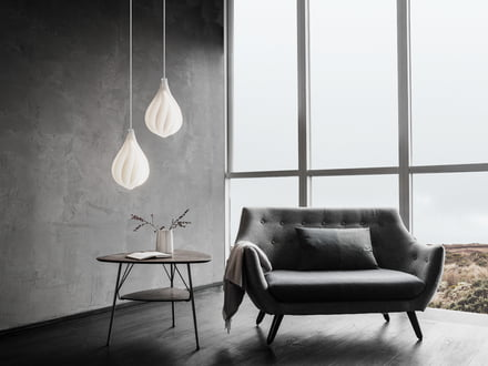 Lampshades by Vita at different heights.