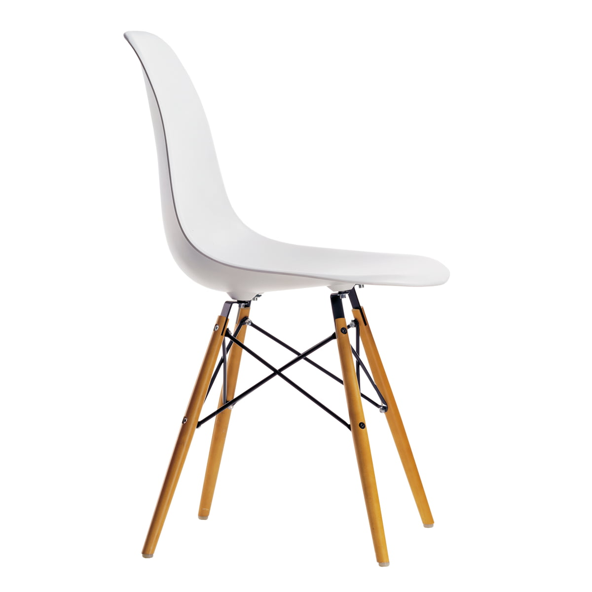 Action: 4 x vitra - Eames plastic side chair dsw, maple yellowish / white  (felt glider white)