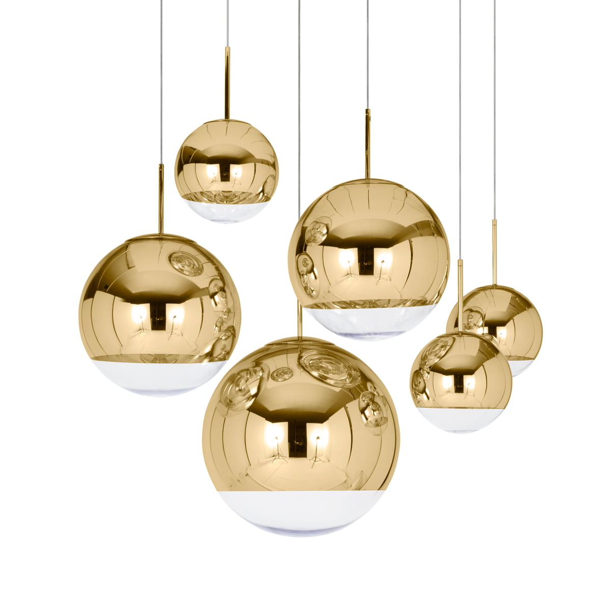 Mirror Ball Gold Pendant Lamp By Tom Dixon