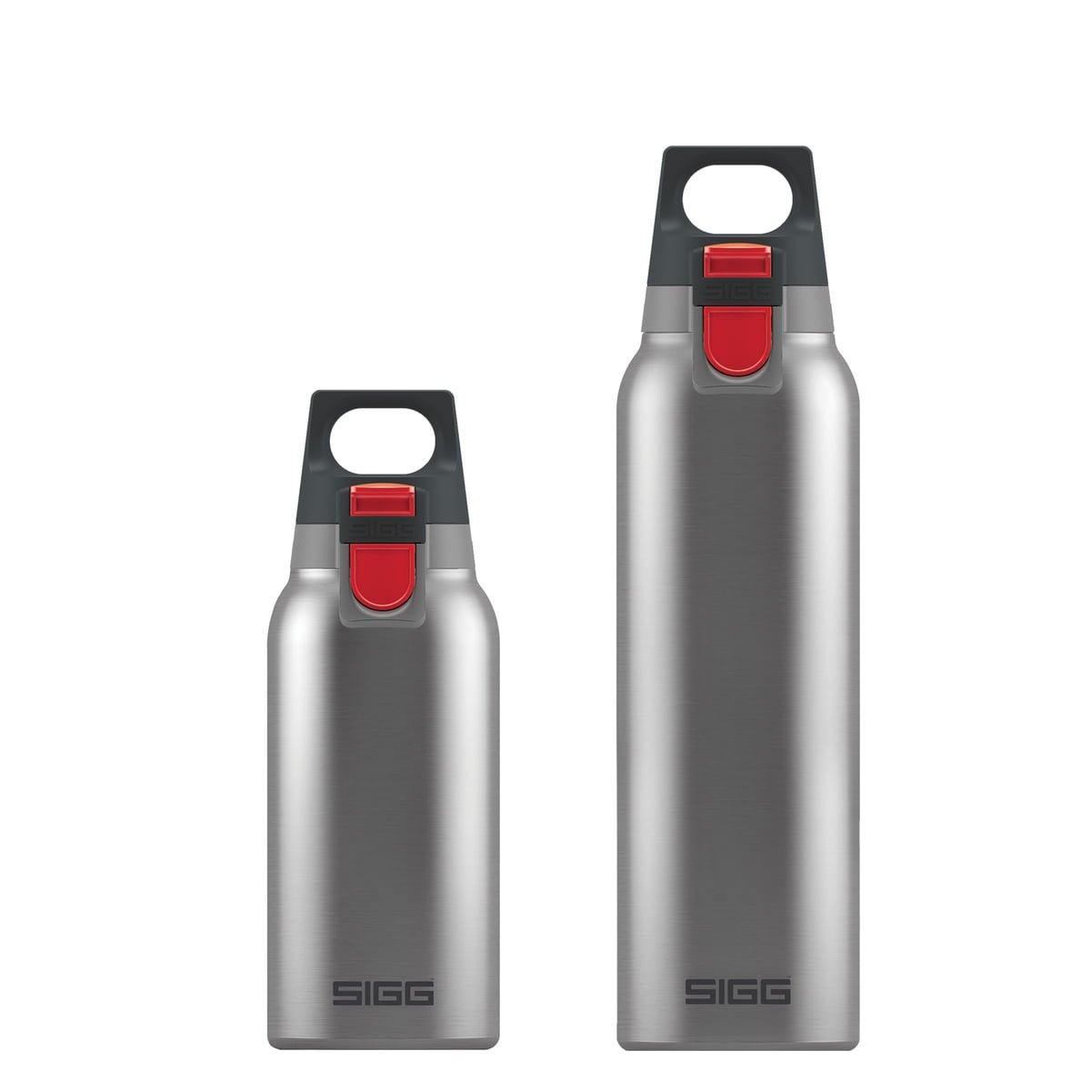 hot cold one brushed bottles by sigg in the shop. Black Bedroom Furniture Sets. Home Design Ideas