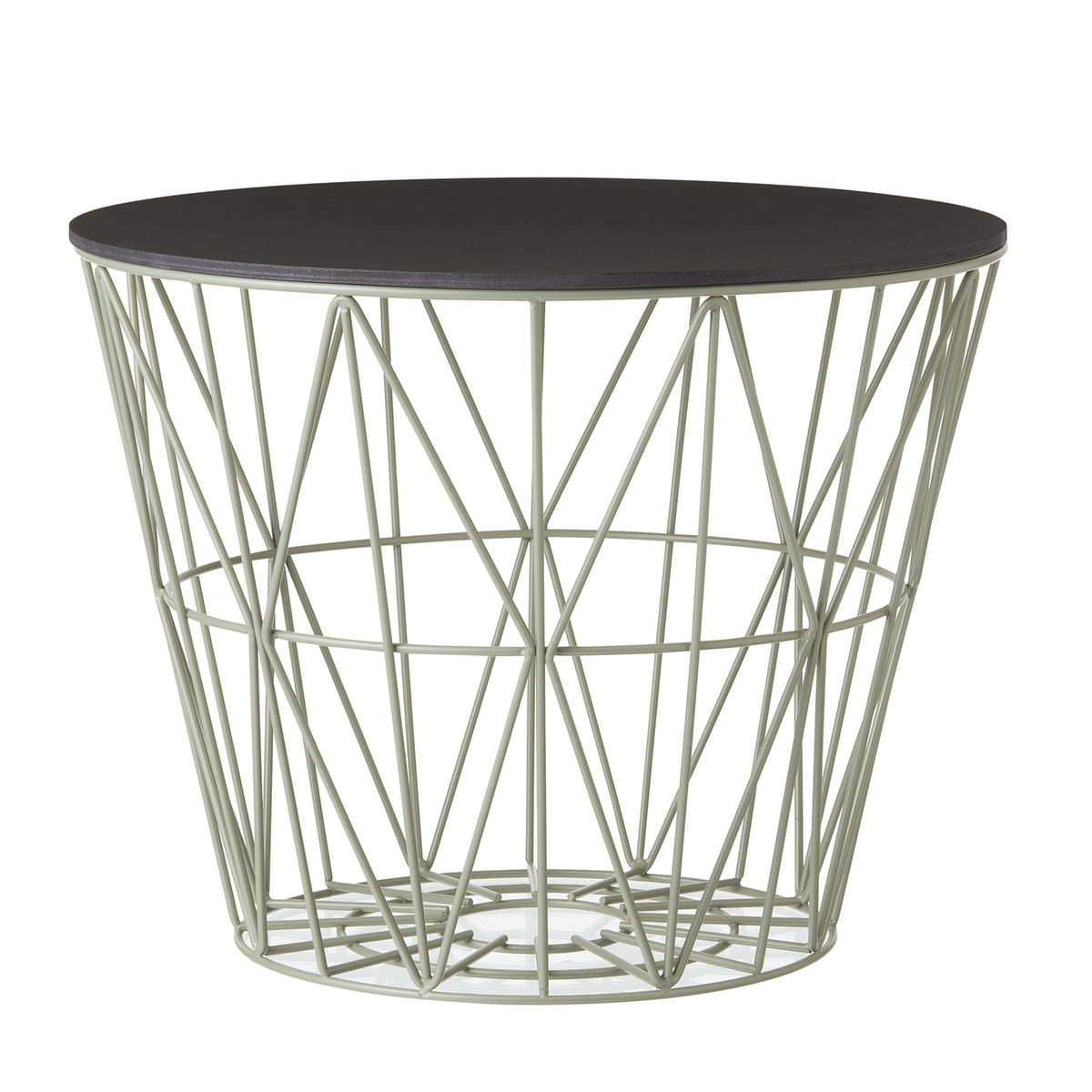 The wire basket from ferm living in the shop wire basket in dusty green with top in stained black by ferm living greentooth Images