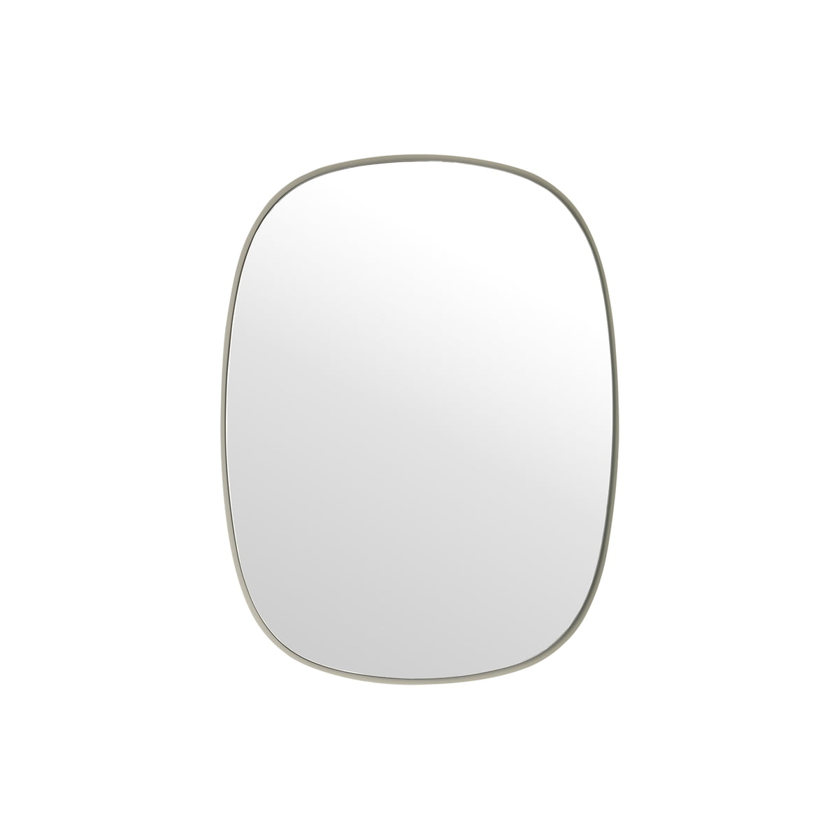 Muuto framed mirror klein grau klarglas for Small white framed mirrors