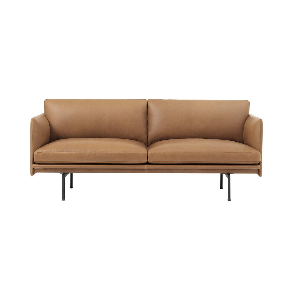 Wondrous Muuto Outline Sofa 2 Seater Cognac Silk Leather Traffic Black Ral 9017 Uk Download Free Architecture Designs Scobabritishbridgeorg