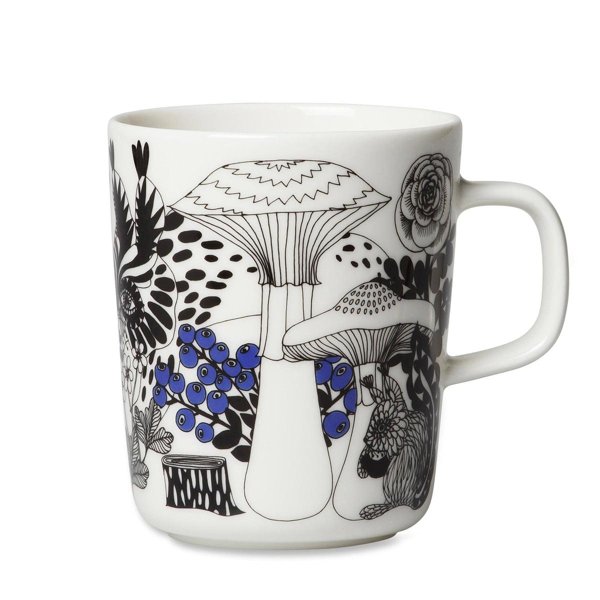 The Marimekko - Oiva Veljekset mug with handle 250 ml in white / black /  sc 1 st  Connox & Veljekset Mug with Handle - Marimekko