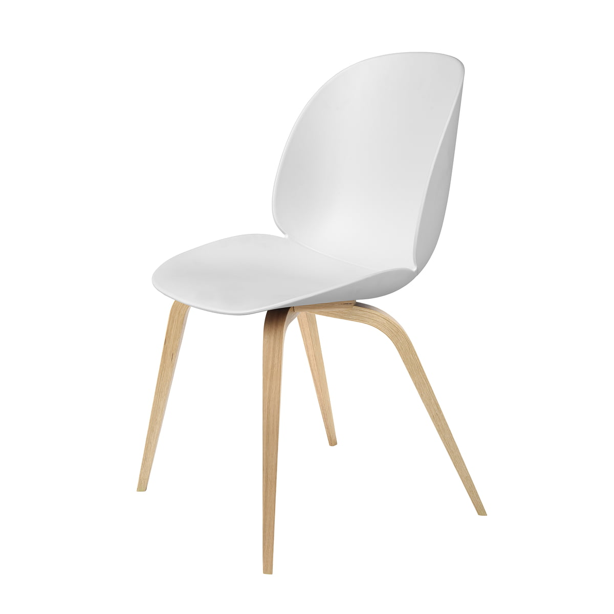 Genial Beetle Dining Chair With Wood Base In Oak / White