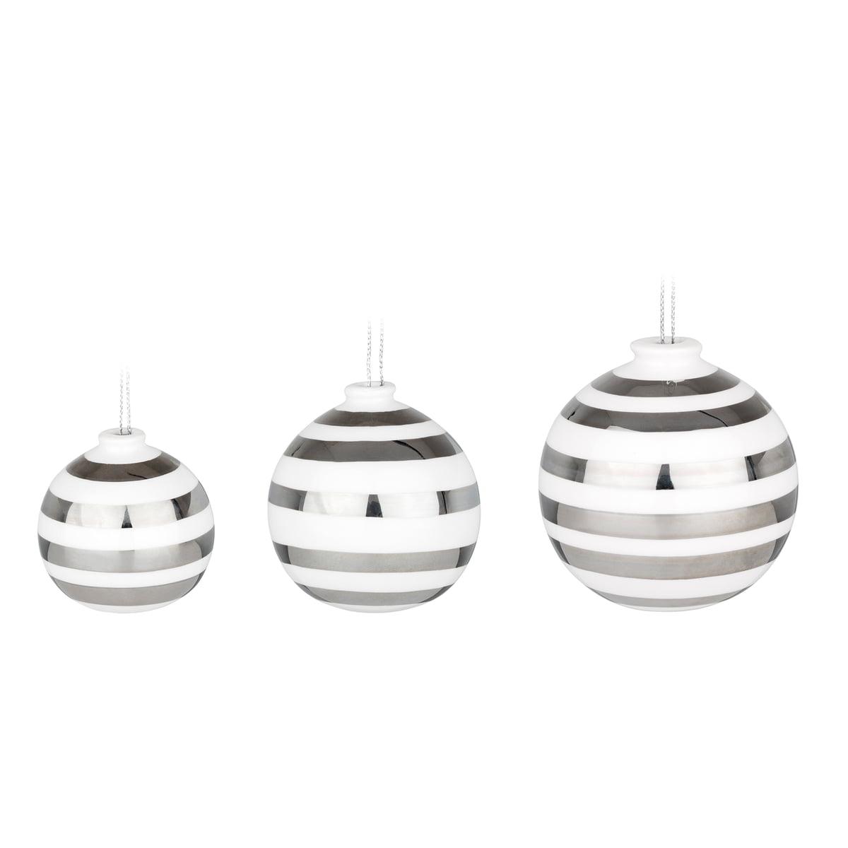 Moderne Christbaumkugeln.Kähler Design Omaggio Christmas Tree Baubles Nacre Set Of 3