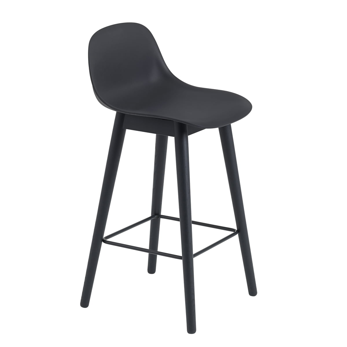 Outstanding Muuto Fiber Bar Stool Wood Base With Backrest H 65 Cm Oak Cognac Leather Beatyapartments Chair Design Images Beatyapartmentscom