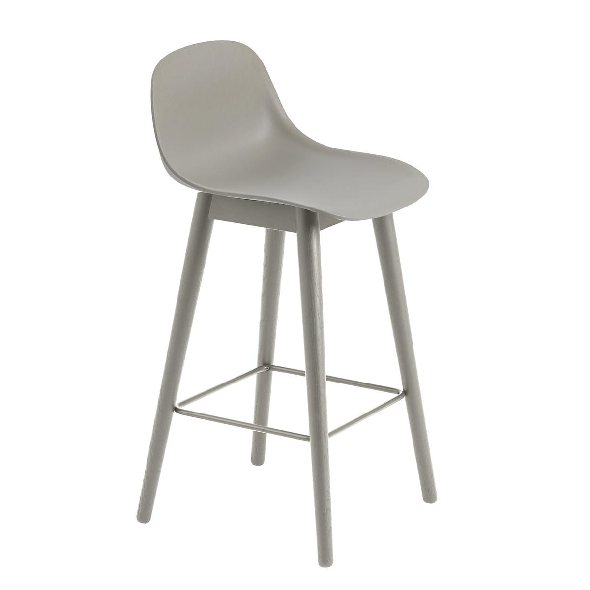 Fiber Bar Stool With Backrest Wood Base By Muuto Connox