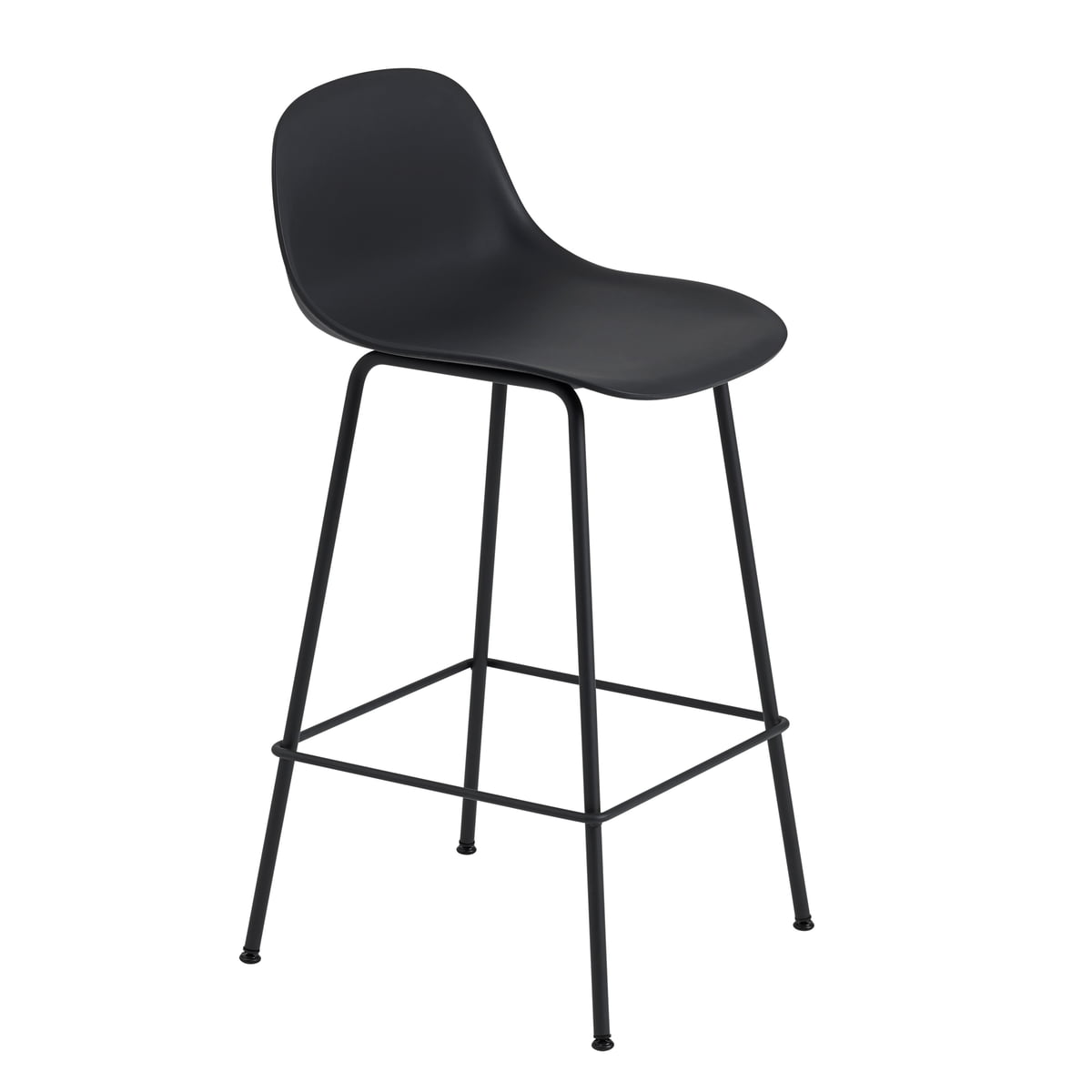 Fiber Bar Stool With Backrest Metal Base By Muuto Connox
