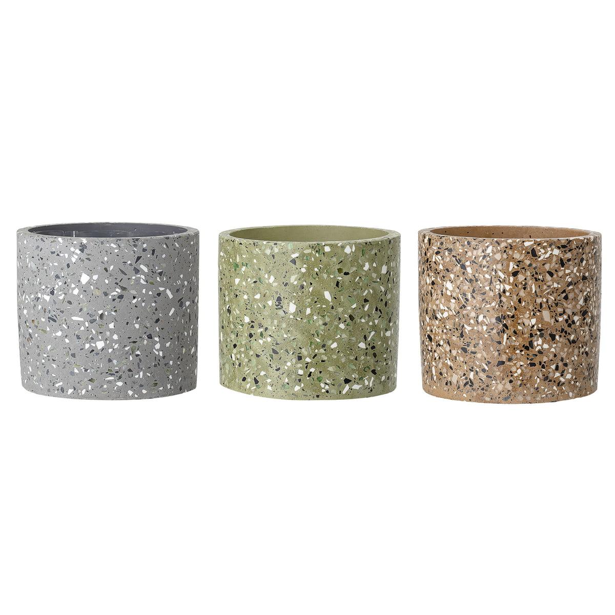 Concrete flower pots from Bloomingville Ø 14 x H 13 cm multi-color  sc 1 st  Connox Interior Design Shop & Bloomingville - Concrete flower pots | Connox