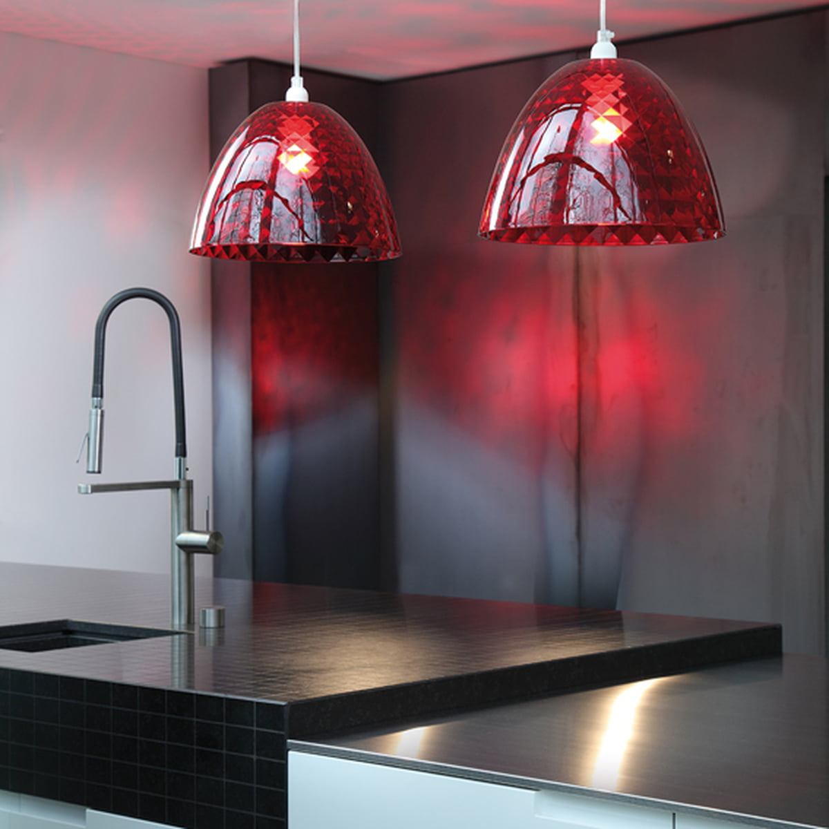 Koziol Hanglamp Stella M.Koziol Stella S Pendant Lamp Transparent Red