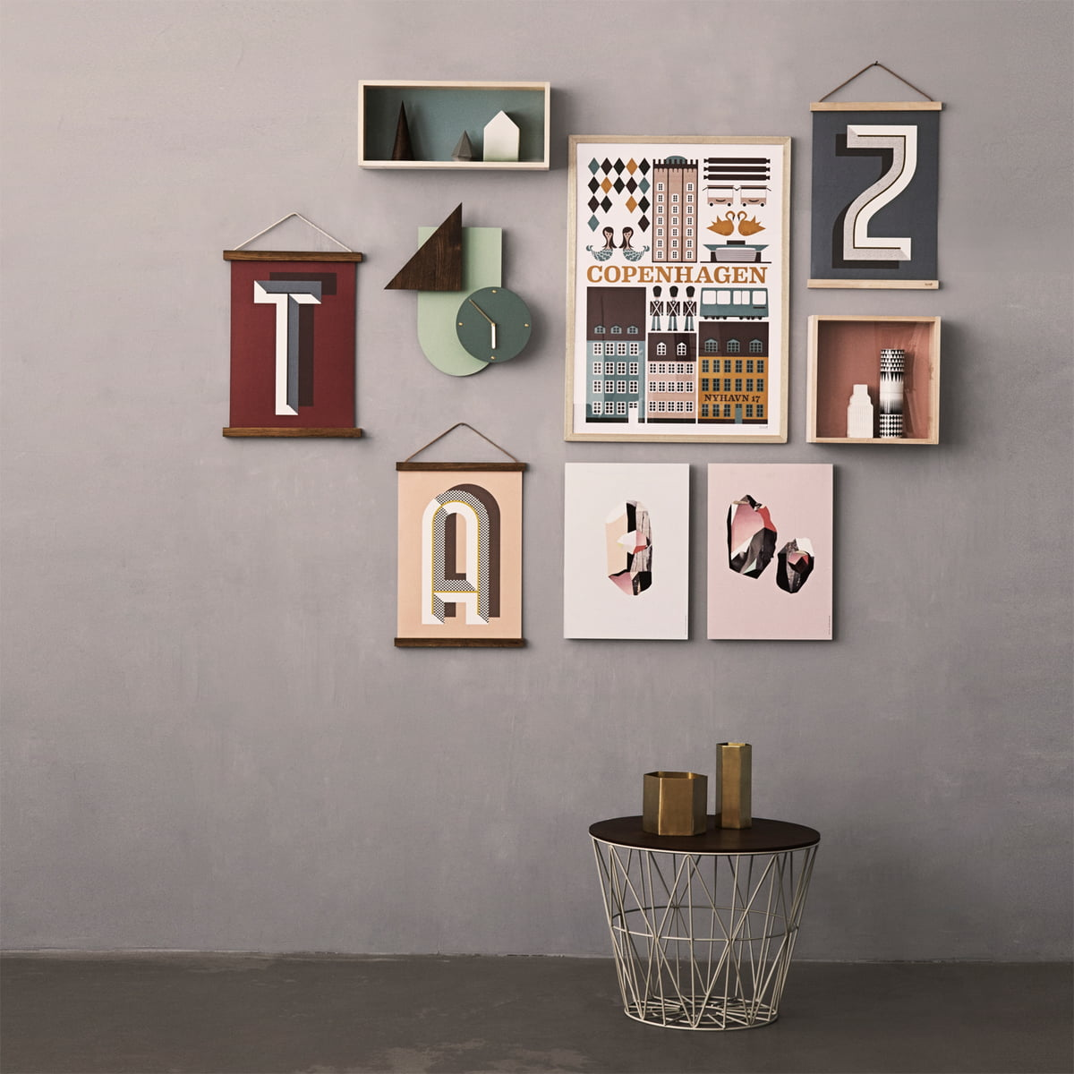 Wall decorations and side table by ferm Livingferm Living Wire Basket in the design shop. Ferm Living Basket Uk. Home Design Ideas