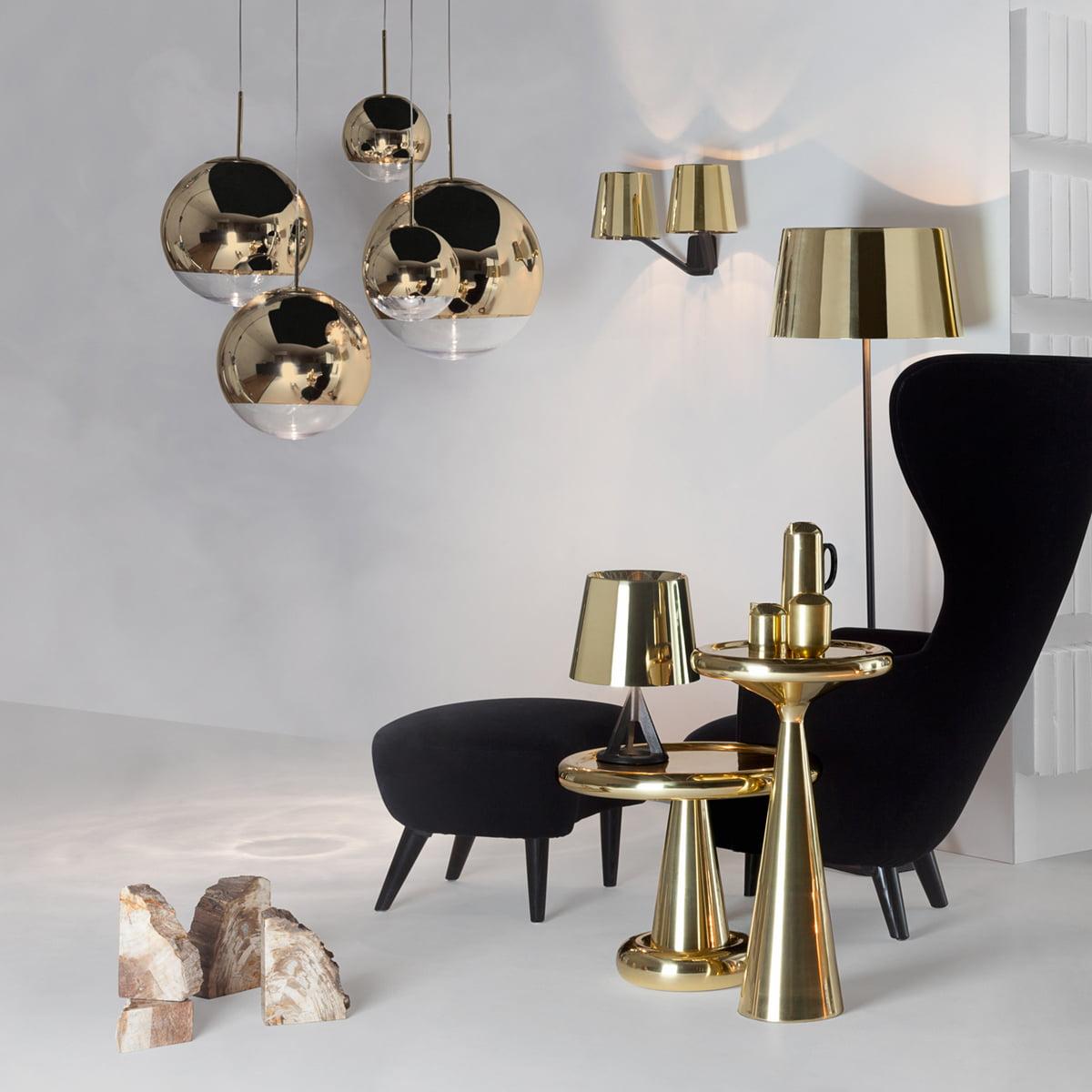 Mirror Ball Gold Pendant Lamp by Tom Dixon
