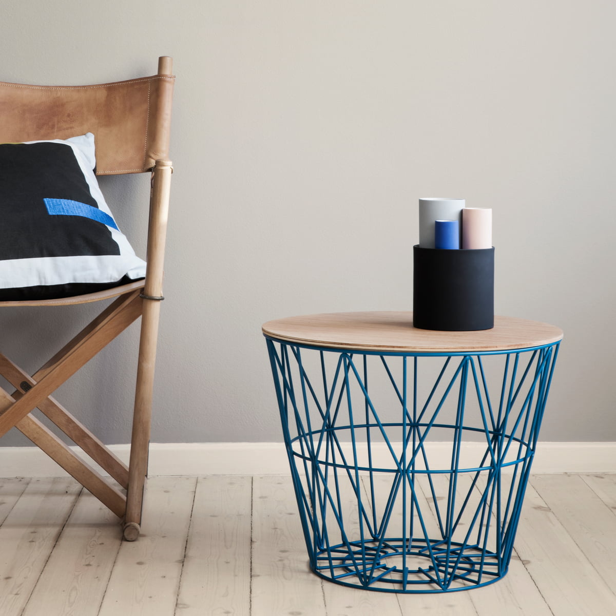 The wire basket top large by ferm living vase set on side table greentooth Image collections