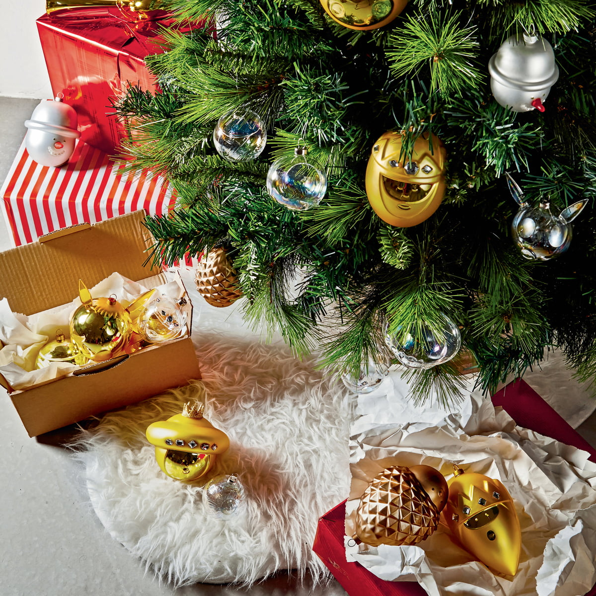 low priced 299d8 a3f98 A di Alessi - Christmas tree baubles (set of 10), gold