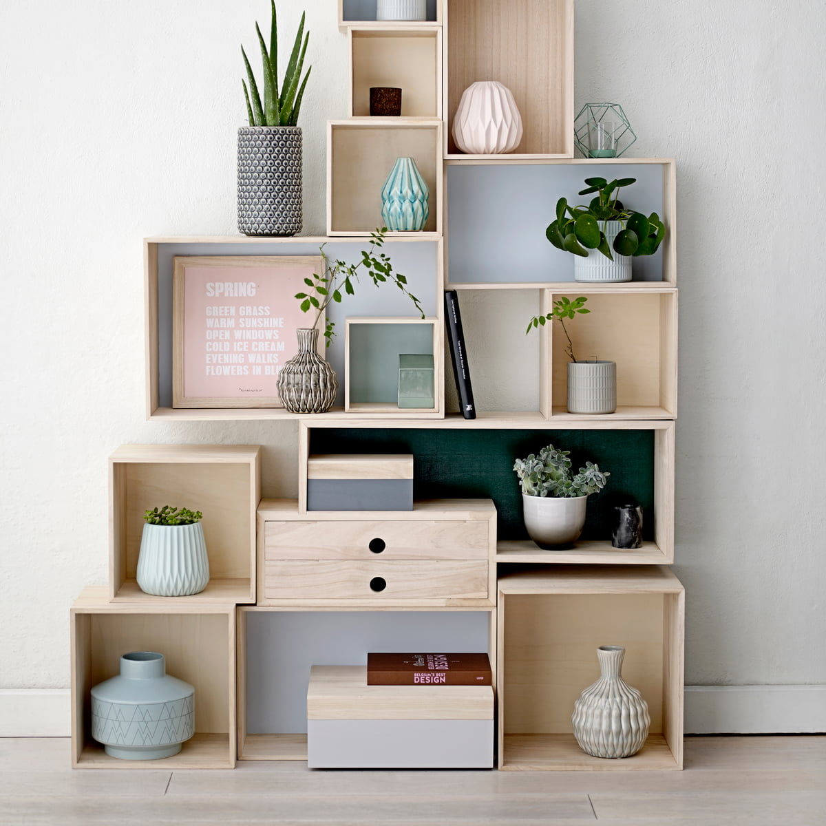 4 wooden boxes by bloomingville shop