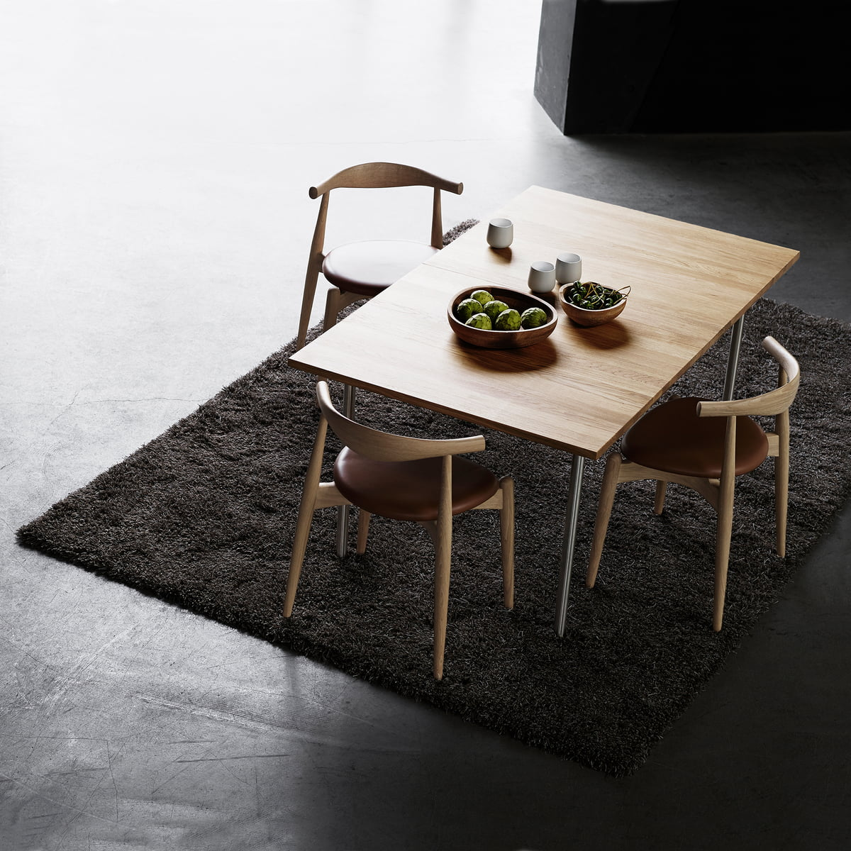 The Carl Hansen   CH20 Elbow Chair With CH322 Table