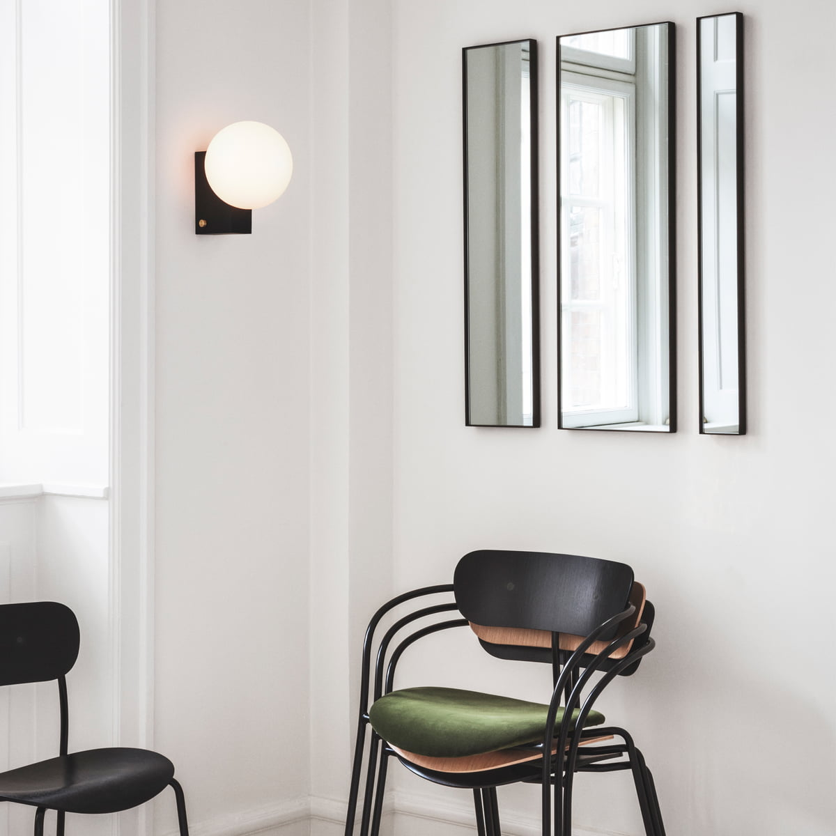 Amore wall mirror journey table and wall lamp pavilion armchair and pavilion chair by