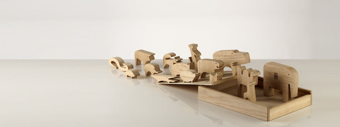 Danese Milano is an Italian design company. The Wooden Puzzle Sedici Animali is composed of small wooden animals, creating an overall picture in the box.