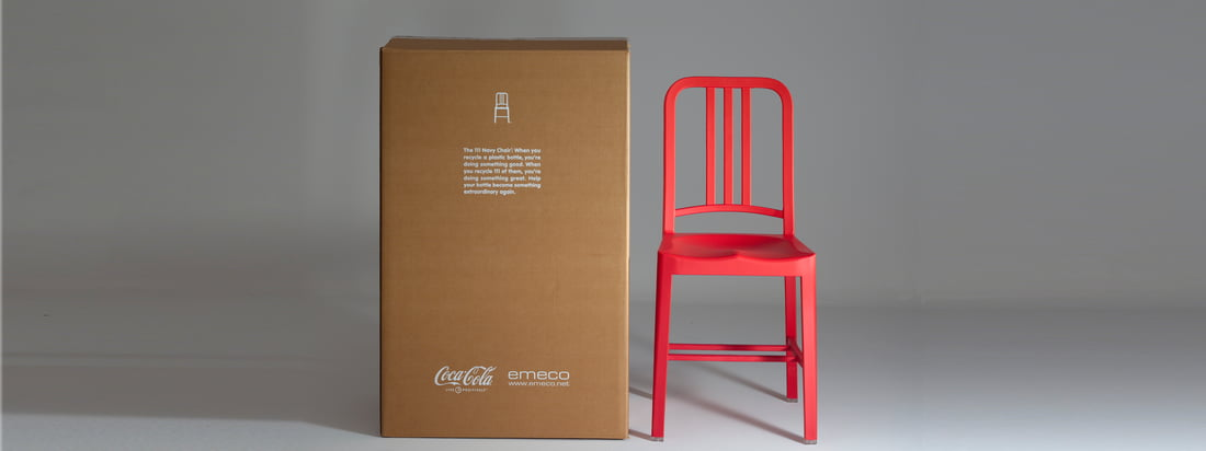 Emeco is an American furniture manufacturer. The chairs with a classic design like the 111 Navy Coca-Cola Chair are especially known. This one is a special model of the Navy Chair.