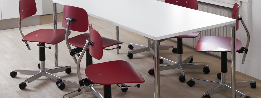 Engelbrechts is a Danish manufacturer for furniture. The Kevi 2003 Office Chair is composed of a compact seat made of wood and a base cross made of aluminium.