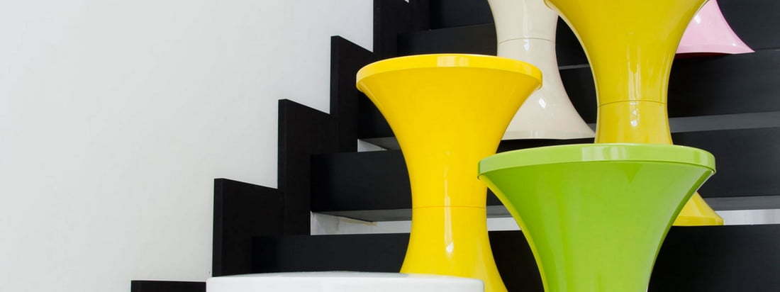 The French company Branex Design produces the cult Tam Tam Stool in different bright colours like yellow and green. Available here in the design shop!