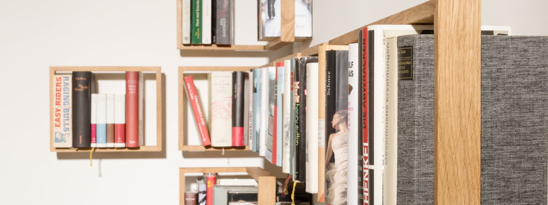 The manufacturer das kleine b is known for the Shelf b. The shelf is composed of a wooden frame and stainless steel angles. For a big book collection in one's home.