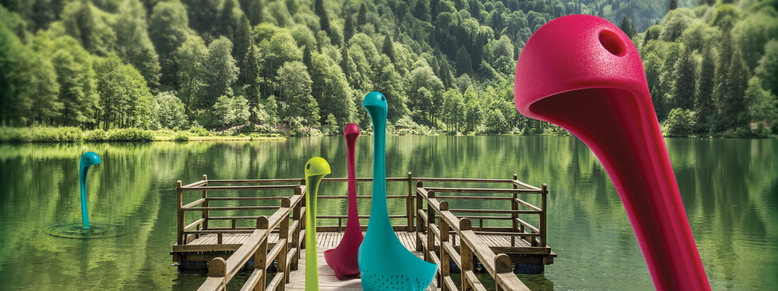 Mamma Nessie vegetable strainer and Nessie ladle by Ototo in many different colours