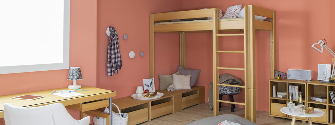 De Breuyn is a manufacturer from Cologne. Buy ecological furniture for children like the debe.destyle bunk in the shop. One bed - 5 different heights.