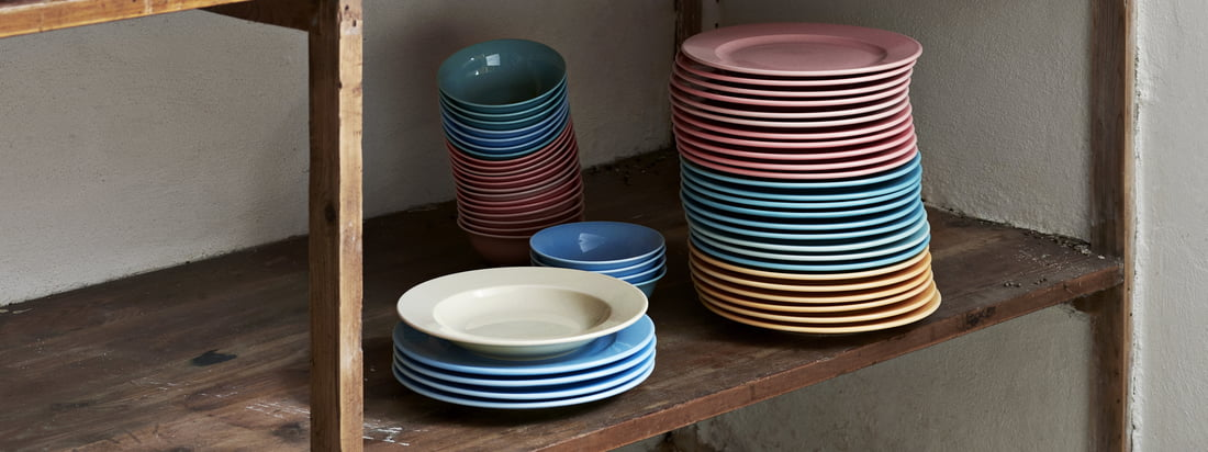 The Rainbow bowls and plates and the Italian sugar shaker are part of Hay's practical Kitchen Market collection designed for the kitchen.