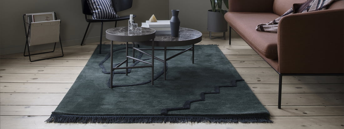 The tone-in-tone colours of the Desert Tufted carpet by ferm Living express the simplicity of the carpet, while the contemporary nuances make a statement of their own.