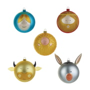 A di Alessi - Baby Jesus Mary Joseph Ox and Donkey Christmas Baubles (coloured)