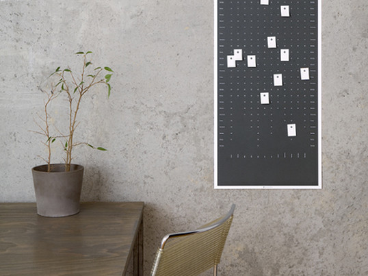 The wall calendars by DIG are printed on recycled paper in portrait or landscape format and is an individual wall object and calendar at the same time: 100 perforated adhesive labels allow to mark and label the calendar each day.