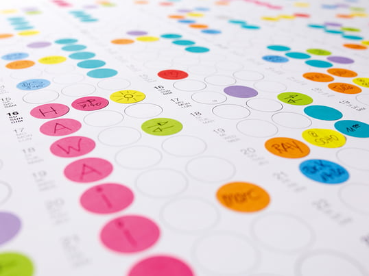 Organise your days, weeks and months with small, colourful sticky dots! The dots can be also be labelled and painted so that you will never lose your place.