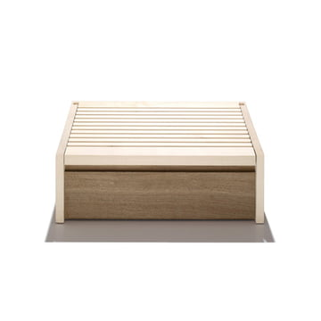 side by side - bread box made of maple and oak wood