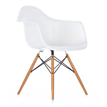 Vitra - Eames Plastic Armchair DAW, golden maple / white, felt glides