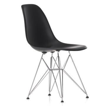 Vitra - Eames Plastic Side Chair DSR, chrome-plated / basic dark, black felt pads