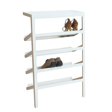 Mox - Mila Shoe Rack, oak wood / shiny white