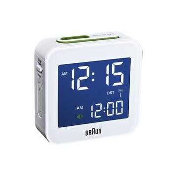 Braun - Digital radio-controlled alarm clock BNC008, white - light switched on
