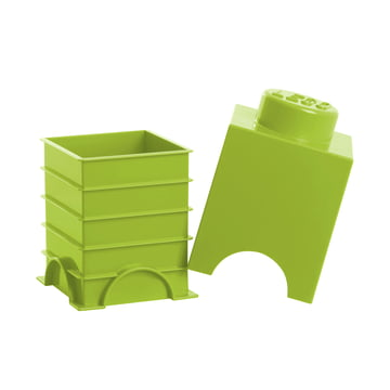 Lego - Storage Brick 1, lime - open