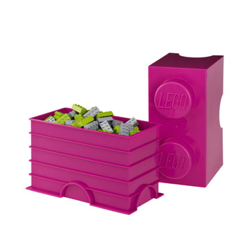 Lego - Storage Brick 2, purple - open, filled