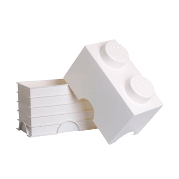 Lego - Storage Brick 2, white - open
