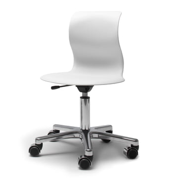 Flötotto - Pro 5 Swivel Chair chrome plated, seat snow white