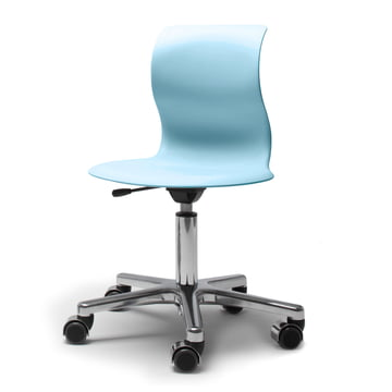 Flötotto, Pro 4 and 5 swivel base chrome-plated, seat Aqua blue