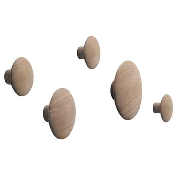 Muuto - 'The Dots' coat hooks set of 5, oak