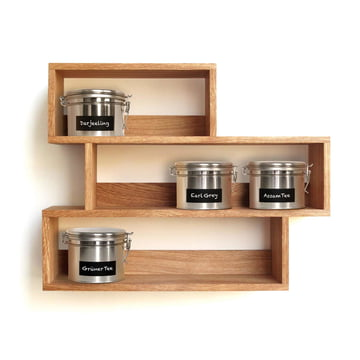 side by side - Tea shelf with tea tins