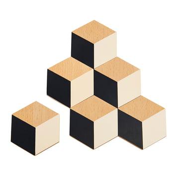 Areaware - Table Tiles, black / beige (set of 6)