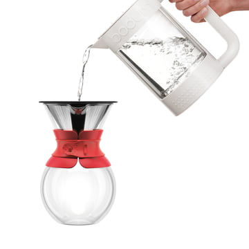 Bodum - Pour Over Coffee Maker with permanent filter, short handle, 1.0 l, red