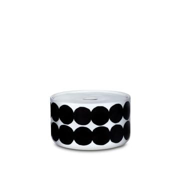 The Oiva Siirtolapuutarha storage glass in the size 450 ml in white / black