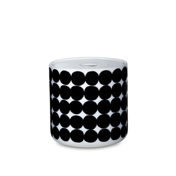 The Oiva Siirtolapuutarha storage glass in the size 700 ml in white / black